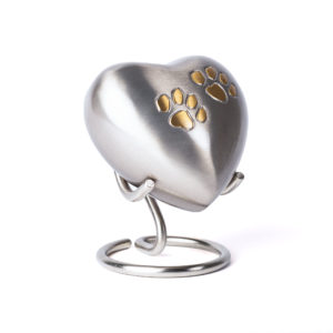 Love Heart Silver Pewter Urn