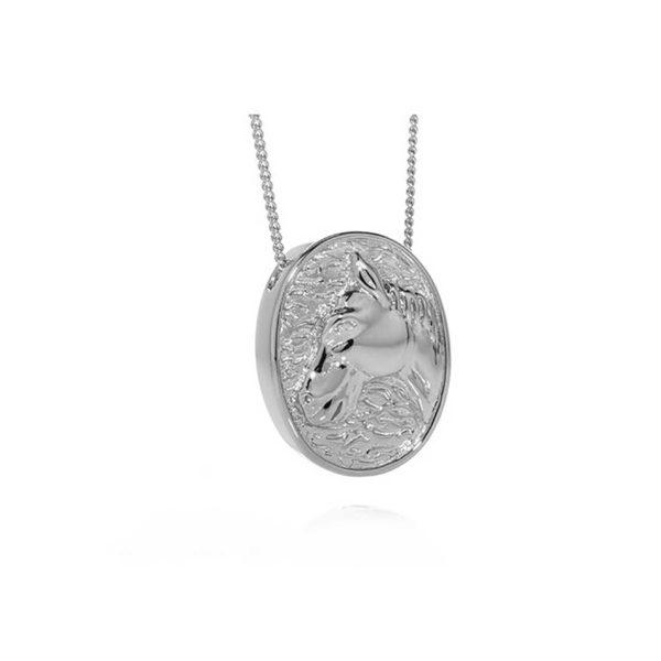 Silver Oval Horse Pendant